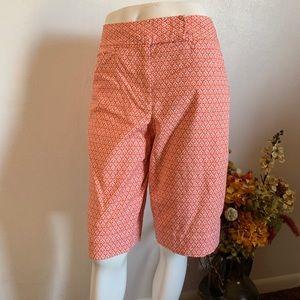 Talbots orange/white bermuda shorts sz 6